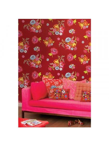 Painel de Parede Vermelho com Flores
