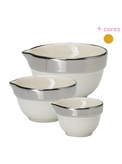 Conjunto 3 Bowls Branco com Prata