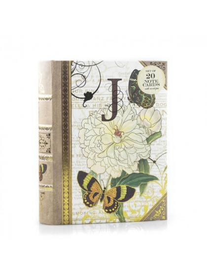 Caixa Livro J Capa com 20 Cartões e Envelope