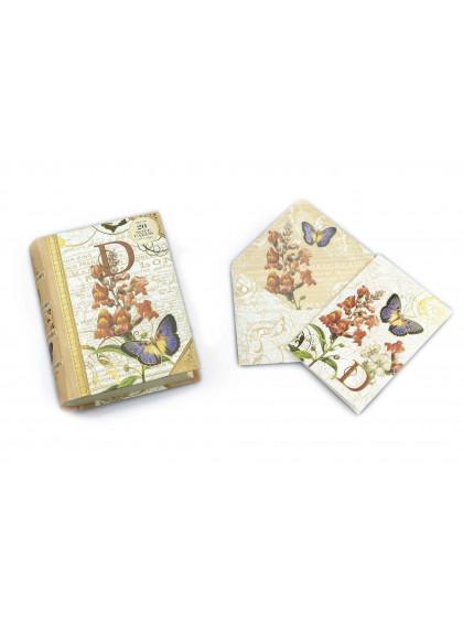Caixa Livro D Capa com 20 Cartões e Envelope
