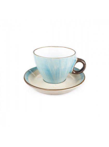 Xícara de Chá Azul de Porcelana com Pires