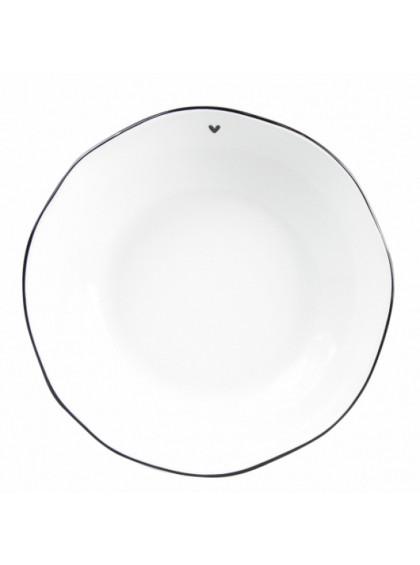 Prato de Sopa Branco com Borda Preta e Coração - Bastion