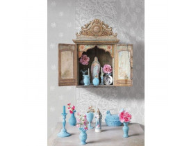 Painel de Parede Cinza com Flores Brancas - Pip Studio