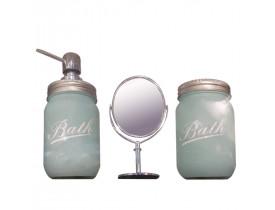 Set c/3pcs Banheiro Vidro/Metal c/espelho Clean Color Verde - Urban