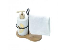 Set c/3pcs Porta Sabonete Liquido c/ toalha e Suporte Cerâmica Leave Branco - Urban