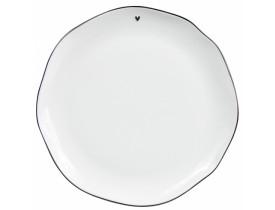 Prato de Jantar Branco com Pequeno Coração Preto - Bastion
