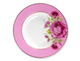 Prato de Porcelana para Sopa Salada Rosa Floral
