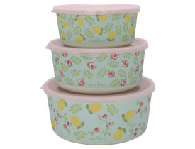 Conjunto 3 Potes Redondas Limona Azul Palido - Greengate