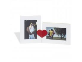 Placa para 3 Fotos Coração Preto