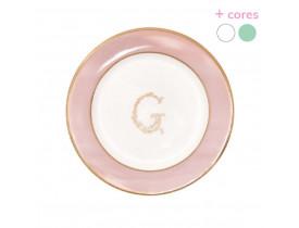 Prato de Pão Rosa e Branco com detalhe em Ouro