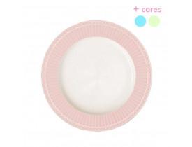 Prato de Jantar Rosa com Branco