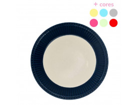 Prato de Sobremesa Azul escuro com Branco