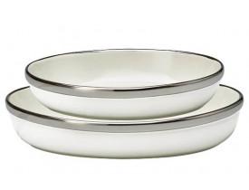 Prato Oval com Borda de Prata 2 peças