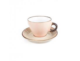 Xicara de Chá Rosa de Porcelana com Pires