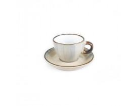 Xícara de Café Bege de Porcelana com Pires