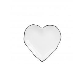 Prato Coração Branco com Borda Preta - Bastion