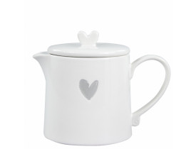 Bule de Chá Branco com Coração Cinza - Bastion