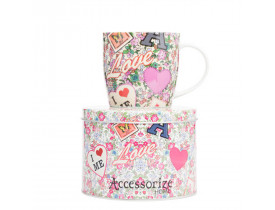 Kit Caneca c/ Lata Rosa Love de Porcelana/ Aluminio 340 ml - Accessorize