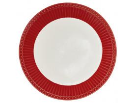 Prato de Pão Alice Vermelho com branco
